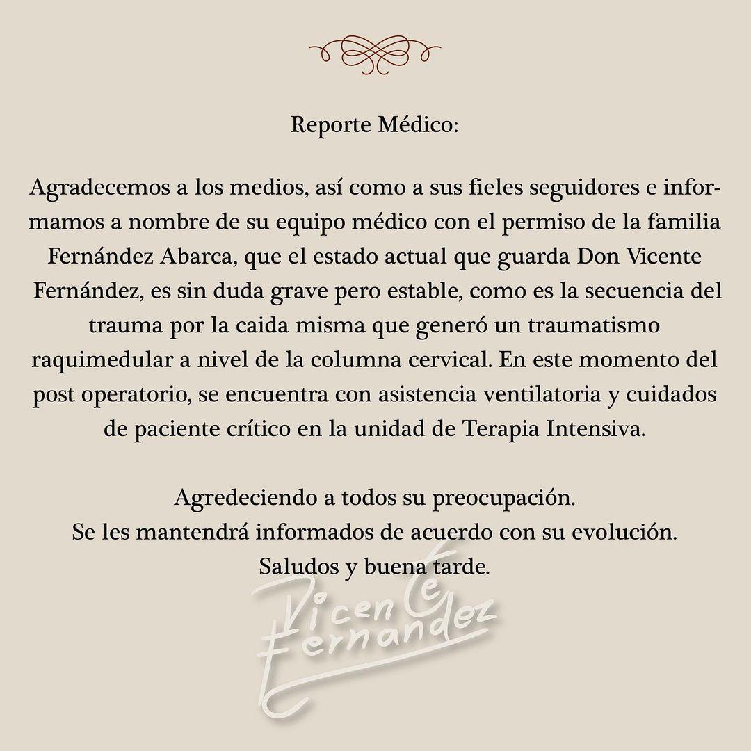 Vicente Fernández accidente